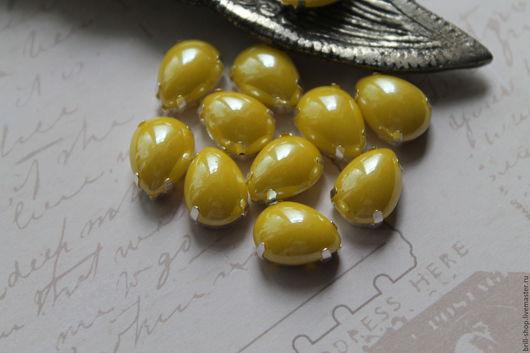 Для украшений ручной работы. Ярмарка Мастеров - ручная работа. Купить Перламутровые стразы капля 10х14 мм Сочный лимон. Handmade.