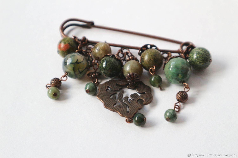 Brooch pin with natural green stones, Brooches, Tula,  Фото №1