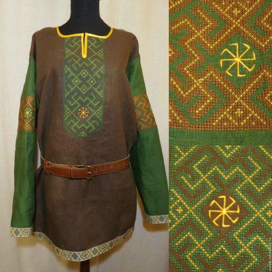 Одежда ручной работы. Ярмарка Мастеров - ручная работа. Купить Мужская славянская обрядовая рубаха с обережной вышивкой. Handmade.