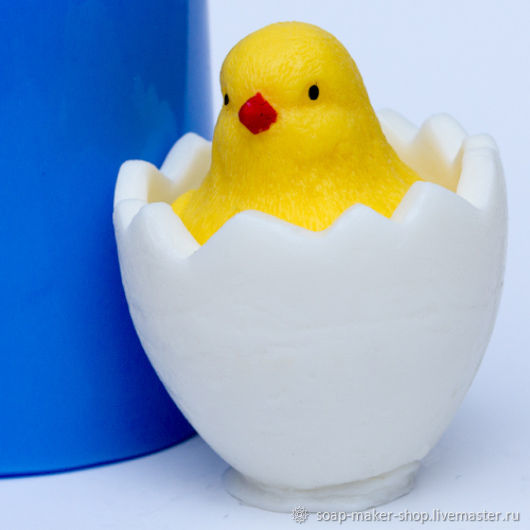 Silicone mold for soap 'Chick in egg 3D', Form, Shahty,  Фото №1