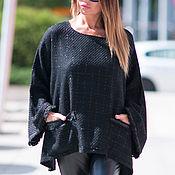 Одежда handmade. Livemaster - original item Pullover, Black pullover, Women`s pullover, Pullover with pocket. Handmade.