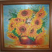 """Картины и панно ручной работы. Ярмарка Мастеров - ручная работа Картина """"Подсолнухи"""". Handmade."""