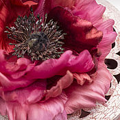 Brooches handmade. Livemaster - original item poppy made of silk and velvet