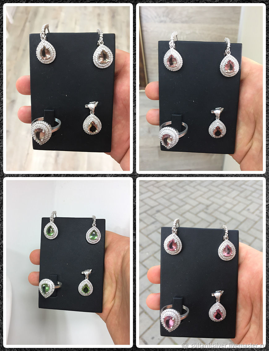 Jewelry set made of silver and Sultanate. Ring, earrings, pendant, Jewelry Sets, Moscow,  Фото №1