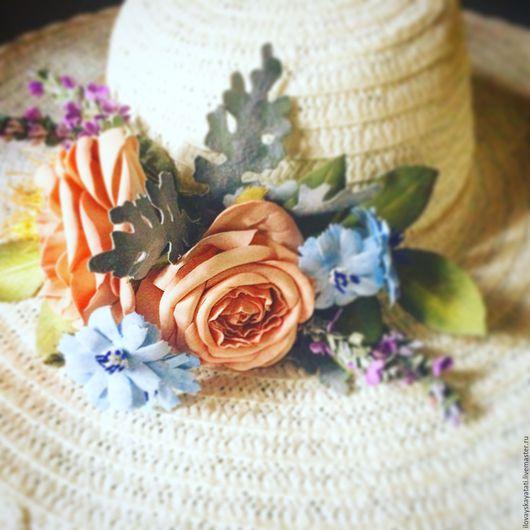 Броши ручной работы. Ярмарка Мастеров - ручная работа. Купить Украшение с цветами на летнюю шляпку. Handmade. Комбинированный, цветы из фоамирана