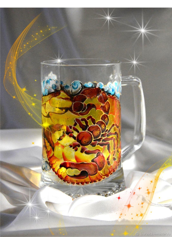 """Стеклянная пивная кружка """"Скорпион"""" подарок мужчине, Кружки и чашки, Тула,  Фото №1"""