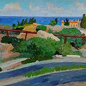 """Картины ручной работы. Ярмарка Мастеров - ручная работа Картины: """"Рельсовая дорога в Пафосе"""" картина Кипр пейзаж. Handmade."""