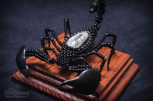 Миниатюра ручной работы. Ярмарка Мастеров - ручная работа. Купить Скорпион. Handmade. Скорпион, змеевик, сувенир из бисера, проволока