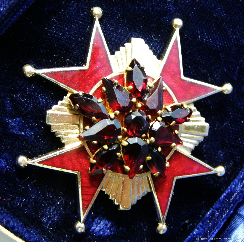 Винтаж: Accessocraft NYC Мальтийский крест Гранатовый брошь подвеска, Броши винтажные, Санкт-Петербург,  Фото №1