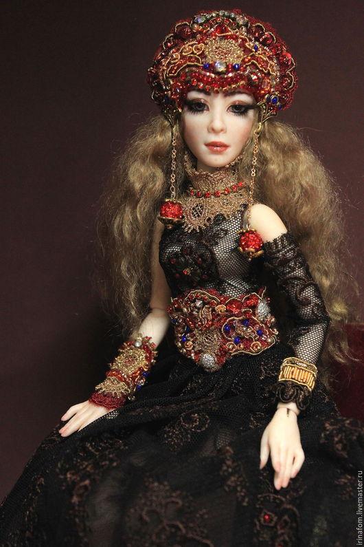 Коллекционные куклы ручной работы. Ярмарка Мастеров - ручная работа. Купить Царица Тамара. Шарнирная, фарфоровая кукла.. Handmade. Черный