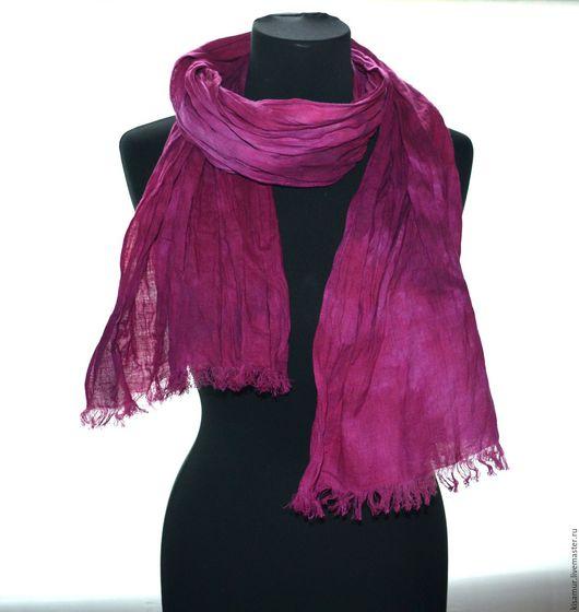 Шарфы и шарфики ручной работы. Ярмарка Мастеров - ручная работа. Купить шарф лён розовая фуксия ручная окраска подарок женщине учителю. Handmade.