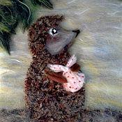 """Картины и панно ручной работы. Ярмарка Мастеров - ручная работа Картина из шерсти """"Ежик в тумане"""". Handmade."""