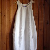 Одежда ручной работы. Ярмарка Мастеров - ручная работа Бохо сарафан из белого льна. Handmade.