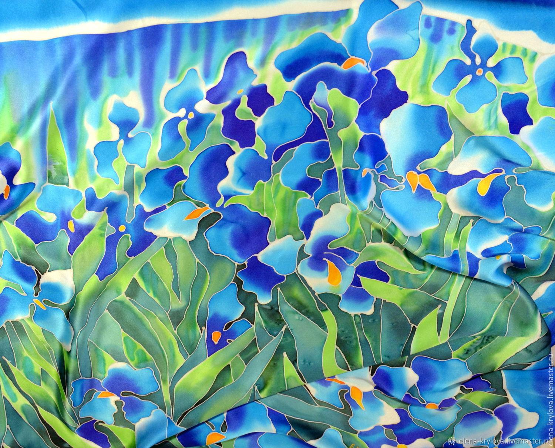 Handkerchief Blue irises van Gogh, Shawls1, Ryazan,  Фото №1