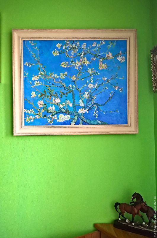 Картины цветов ручной работы. Ярмарка Мастеров - ручная работа. Купить Цветущие ветки миндаля. Handmade. Голубой, весенняя