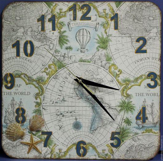 Часы для дома ручной работы. Ярмарка Мастеров - ручная работа. Купить Часы настенные. Карта Мира. Handmade. Голубой
