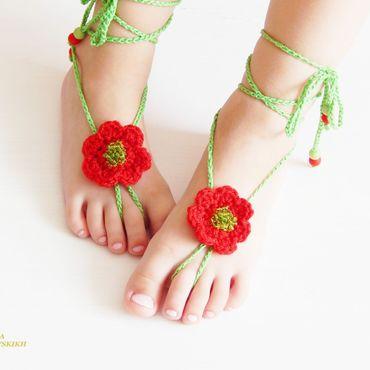 """Работы для детей, ручной работы. Ярмарка Мастеров - ручная работа Украшение на ножки """" Маковка """". Handmade."""