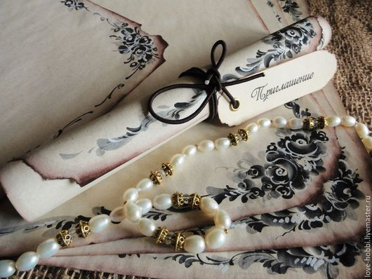 """Свадебные аксессуары ручной работы. Ярмарка Мастеров - ручная работа. Купить Приглашение -  свиток """" Черный жемчуг"""" в винтажном стиле.. Handmade."""