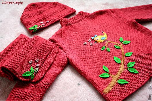 """Одежда для девочек, ручной работы. Ярмарка Мастеров - ручная работа. Купить Комплект """"Моя птичка"""". Handmade. Ярко-красный, хлопок"""