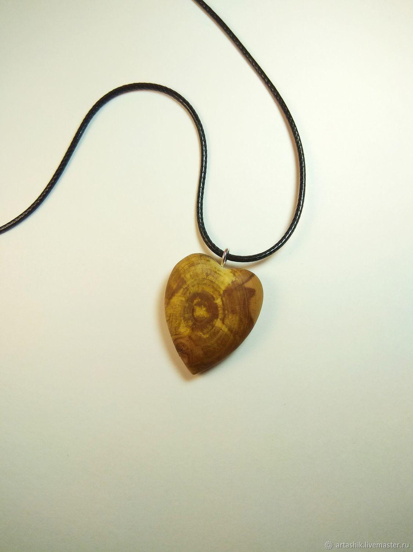 Подвеска сердце из дерева, Кулон, Таганрог,  Фото №1