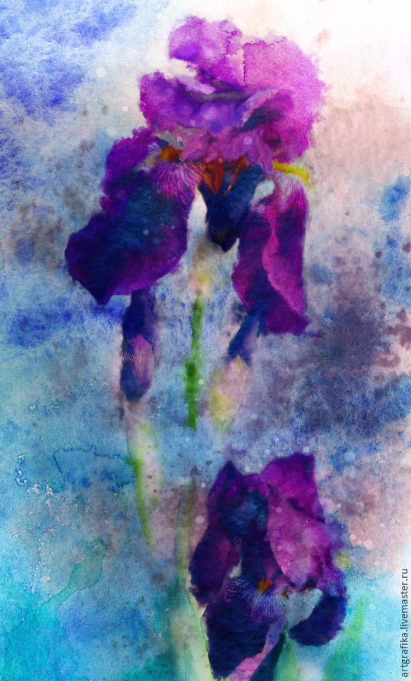 watercolor Blooming irises