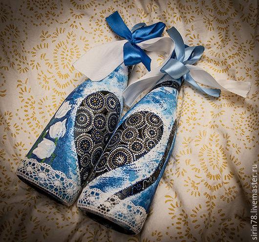 Подарки на свадьбу ручной работы. Ярмарка Мастеров - ручная работа. Купить Свадебные бутылки шампанского. Handmade. Тёмно-синий, шампанское