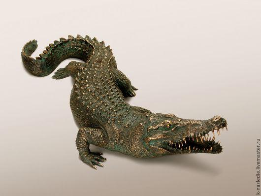 Статуэтки ручной работы. Ярмарка Мастеров - ручная работа. Купить Статуэтка Крокодил (бронзовая статуэтка крокодила, садовая скульптура). Handmade.