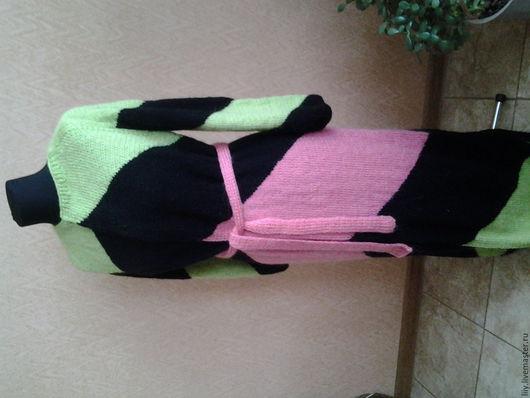 Верхняя одежда ручной работы. Ярмарка Мастеров - ручная работа. Купить мохеровое пальто-халат. Handmade. Комбинированный, вязание спицами