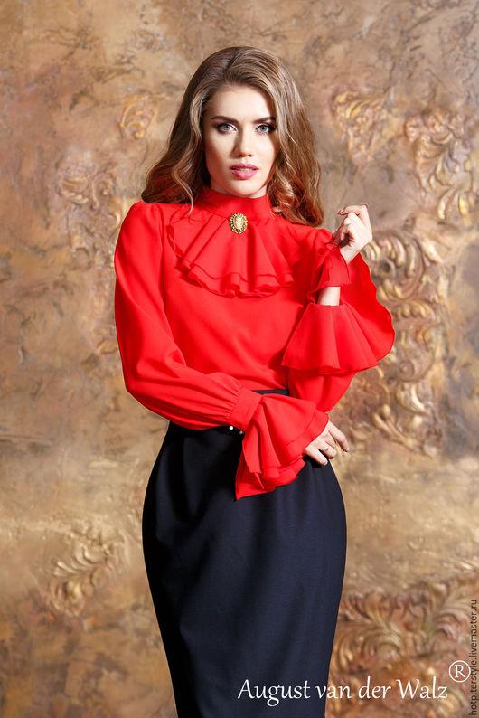 Блузка, Блузка из шифона, Блузка с жабо, блузка красная, блузка летняя, блузка офисная, блузка на каждый день, блузка на осень, блузка в офис, блузка женская, блузка в наличии, блузка ручная работа.