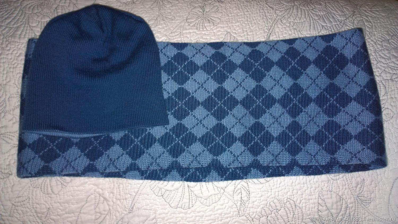 Одежда для мальчиков, ручной работы. Ярмарка Мастеров - ручная работа. Купить Шапочка и снуд. Handmade. Синий, теплый снуд