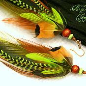 Украшения handmade. Livemaster - original item Green earrings made of feathers. Handmade.