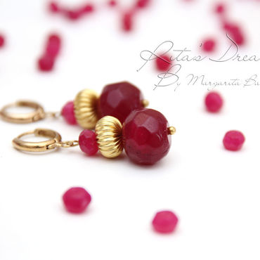 Украшения ручной работы. Ярмарка Мастеров - ручная работа Рубиновые серьги цвета малины с латунью, красно-золотые рубины красные. Handmade.