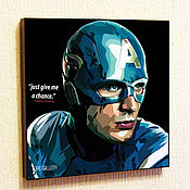 Картины и панно handmade. Livemaster - original item Painting poster Pop Art Captain America. Handmade.