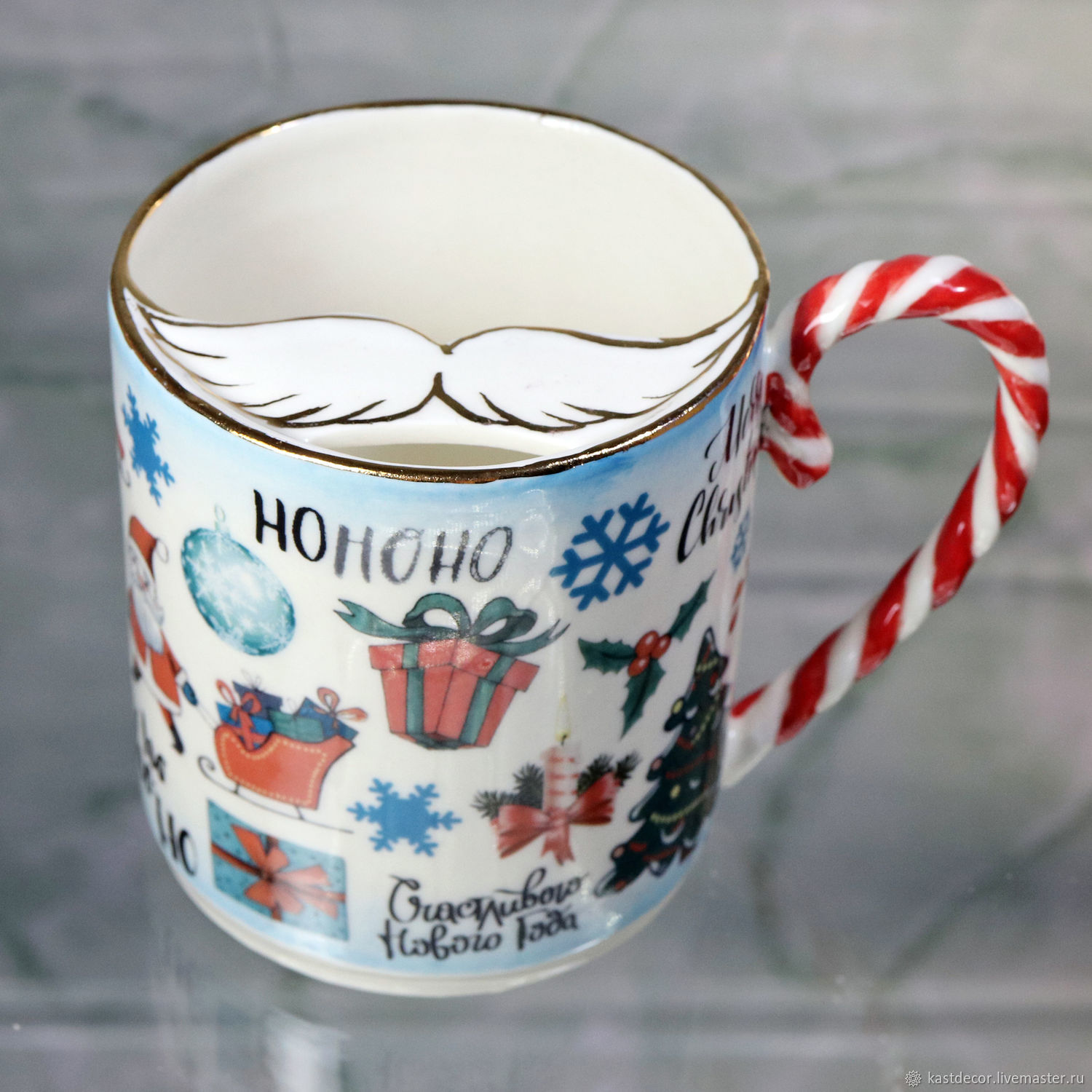 Mustachioed Cup 'All for the New year' porcelain, Mugs, Moscow,  Фото №1