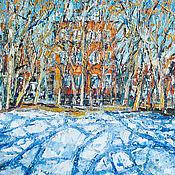 Картины и панно ручной работы. Ярмарка Мастеров - ручная работа Картина масло весна пейзаж Снег сходит. Handmade.