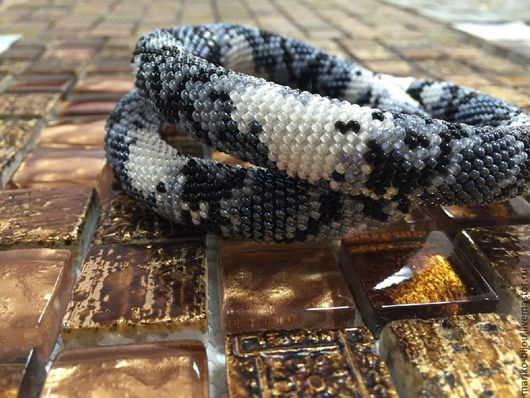 Комплекты украшений ручной работы. Ярмарка Мастеров - ручная работа. Купить Браслет и колье из бисера под змею. Handmade. Колье