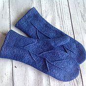 Аксессуары ручной работы. Ярмарка Мастеров - ручная работа Варежки валяные веточка синие варежки из шерсти. Handmade.