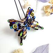 Украшения handmade. Livemaster - original item Pendant: Glass Blue Swallowtail, fusing jewelry. Handmade.