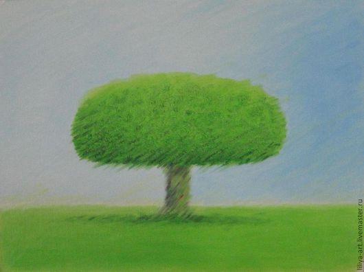 Пейзаж ручной работы. Ярмарка Мастеров - ручная работа. Купить Зеленое дерево. Handmade. Ярко-зелёный, масляная живопись, дерево