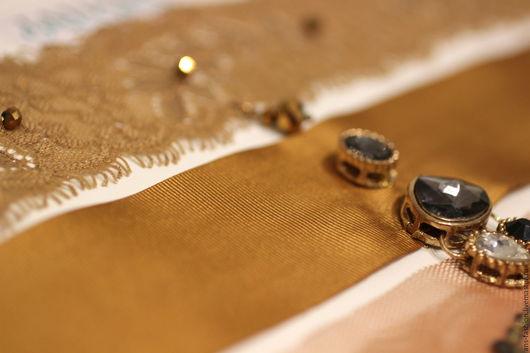 """Колье, бусы ручной работы. Ярмарка Мастеров - ручная работа. Купить Коллар """"Бронзовый атлас"""", чокер. Handmade. Золотой, кристаллы"""