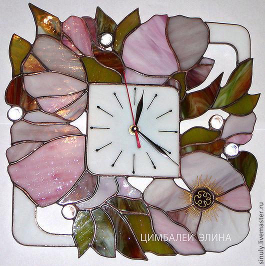 """Часы для дома ручной работы. Ярмарка Мастеров - ручная работа. Купить Витражные часы""""Розовая нежность"""". Handmade. Часы, витражные часы"""