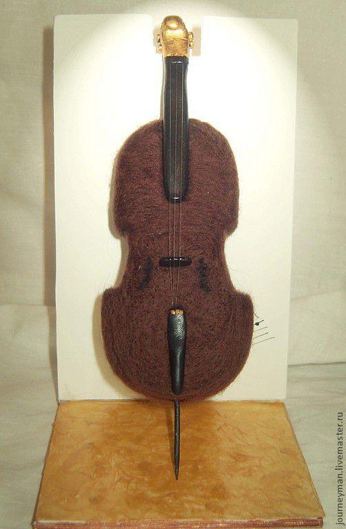 Статуэтки ручной работы. Ярмарка Мастеров - ручная работа. Купить виолончель. Handmade. Коричневый, авторская ручная работа, пластик