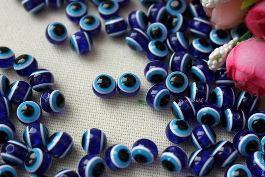Куклы и игрушки ручной работы. Ярмарка Мастеров - ручная работа. Купить Бусины-глазки 10 мм. Handmade. Синий, бусины