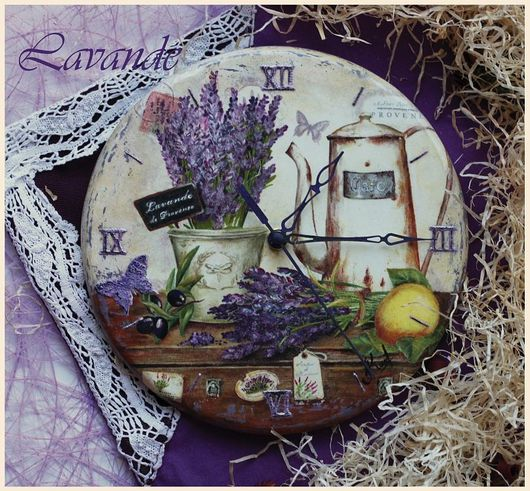 """Часы для дома ручной работы. Ярмарка Мастеров - ручная работа. Купить Часы """"Lavande de Provence"""". Handmade. Часы, объемные"""
