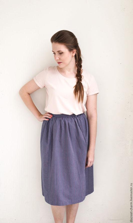 Юбки ручной работы. Ярмарка Мастеров - ручная работа. Купить Полосатая летняя юбка из сине-розового плотного хлопка. Handmade.