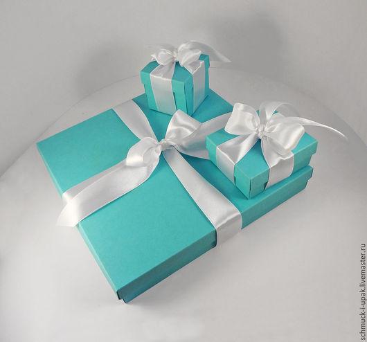 Подарочная упаковка ручной работы. Ярмарка Мастеров - ручная работа. Купить Набор коробок в стиле Тиффани (для украшений). Handmade.