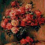 """Картины и панно ручной работы. Ярмарка Мастеров - ручная работа Вышитая картина """"Букет роз Ренуара"""". Handmade."""