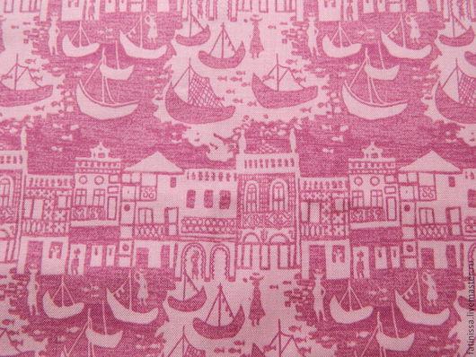 """Шитье ручной работы. Ярмарка Мастеров - ручная работа. Купить Ткань """" Венеция. Гондолы"""" Розовая.. Handmade. Хлопок"""