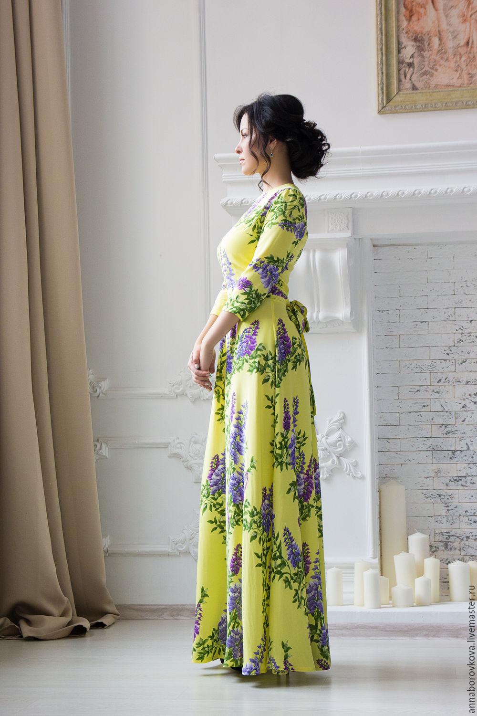 """Платья ручной работы. Ярмарка Мастеров - ручная работа. Купить """"Сирень"""" - длинное платье желтого цвета из вискозы. Handmade."""