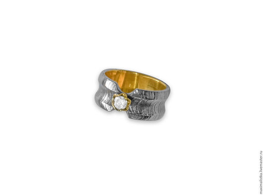 """Кольца ручной работы. Ярмарка Мастеров - ручная работа. Купить Кольцо """"Железная Принцесса"""" из дамасской стали и серебра с цирконием. Handmade."""